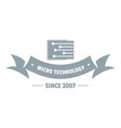 micro technology logo simple gray style vector image vector image