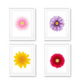 picture frame with flowers isolated vector image vector image