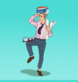 pop art busy business man with pile of documents vector image