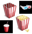 Popcorn box cola and 3D glasses icon
