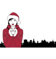 pretty girl wearing a santa hat drinking a hot vector image