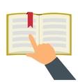 Reading book flat symbol vector image