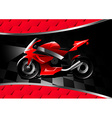 Red motor bike at night on textured background vector image vector image