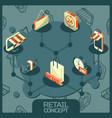 retail color concept isometric icons vector image vector image