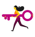 running woman holding giant key concept business vector image