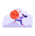 scared businesswoman running fast in panic holding vector image vector image