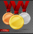 set of gold silver and bronze award medals vector image vector image