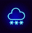 snowy cloud snowflakes neon sign vector image vector image