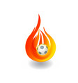 soccer ball on fire logo vector image