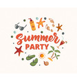 summer party text with beach elementssunscreen vector image