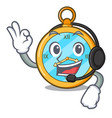 with headphone gold vintage clock with picture vector image
