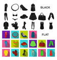 women clothing flat icons in set collection for vector image