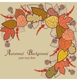 autumn background with leaves and berries vector image