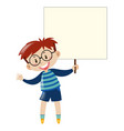 boy with glasses holding sign vector image