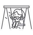 girl on swinglittle line icon sign vector image