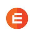 alphabet e flat icon style vector image vector image