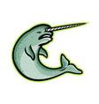 angry narwhal mascot vector image