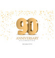 anniversary 90 gold 3d numbers vector image vector image