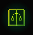 audiobook green outline icon vector image vector image