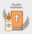 bible with candle and cross to first communion vector image