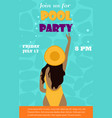 bright invitation template for the pool party with vector image