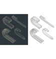 cable chains isometric drawings vector image vector image