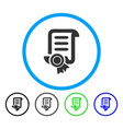 certified scroll document rounded icon vector image vector image