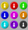 Chess Pawn icon sign symbol on nine round vector image vector image