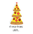 christmas tree pizza with text vector image vector image