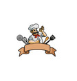 colorful brown ribbon chef utensils logo vector image vector image