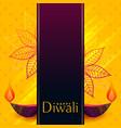 creative diwali banner design with decorative diya vector image
