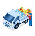 delivery worker loading box isometric vector image