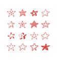 doodle star set vector image
