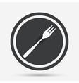 Eat sign icon Diagonal dessert fork vector image vector image