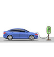 electric car charging at power station vector image