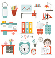 Flat Design UI Office Supply Flat Design Iso vector image