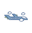 flying airplane travel aviation transport airport vector image vector image