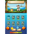Game template with man fishing in background vector image vector image