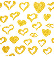 gold hearts seamless pattern vector image vector image