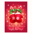 greeting card with a greeting merry christmas and vector image