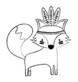 grunge cute fox animal with feathers design vector image vector image