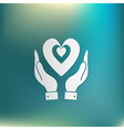 hand holding a heart icon isolated symbol vector image vector image