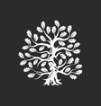 huge and sacred oak tree silhouette logo vector image vector image