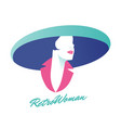icon or avatar elegant woman with hat retro vector image vector image