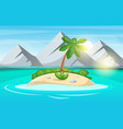 island cartoon sea and sun vector image