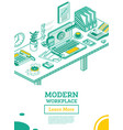 isometric modern business workplace vector image vector image