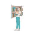 man in library - boy vector image vector image