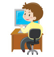 man working on computer at desk vector image vector image