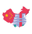 map china with building isolated icon vector image vector image