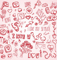 Pink doodles for Valentines day vector image vector image